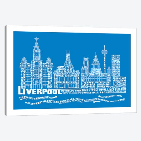 Liverpool, Cobalt Canvas Print #AAA42} by Citography Canvas Print