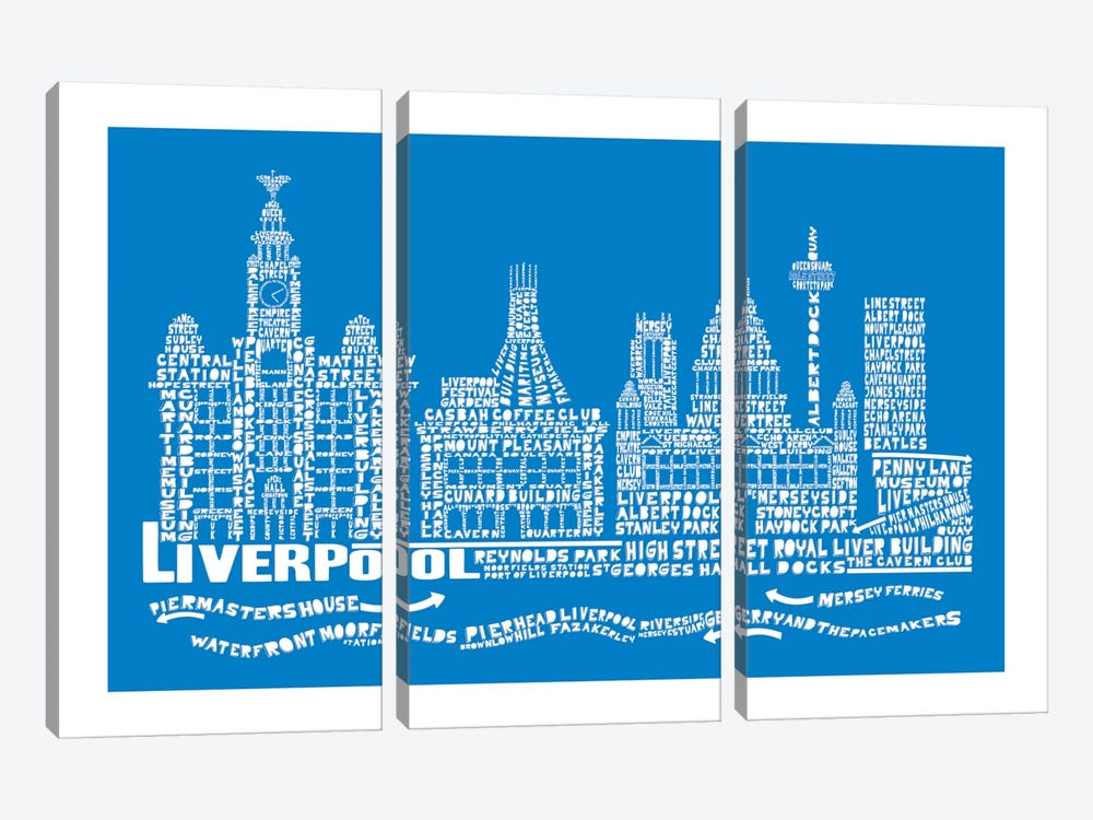 Liverpool, Cobalt by Citography 3-piece Canvas Art Print