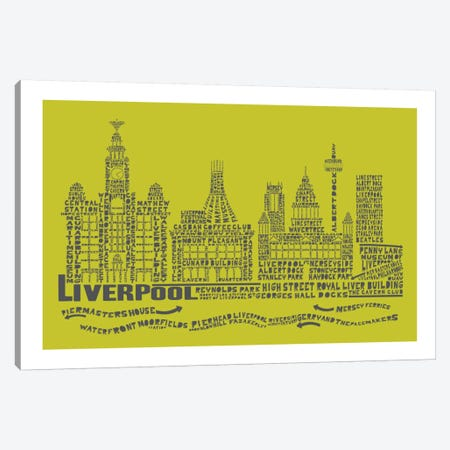Liverpool, Lime & Gray Canvas Print #AAA43} by Citography Canvas Art Print
