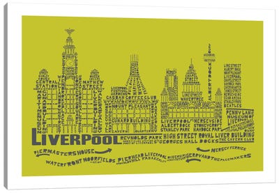 Liverpool, Lime & Gray Canvas Art Print