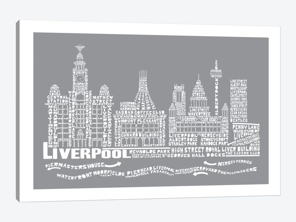 Liverpool, Slate by Citography 1-piece Canvas Print
