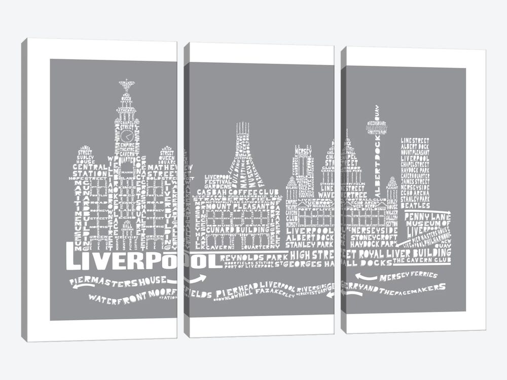 Liverpool, Slate by Citography 3-piece Canvas Print