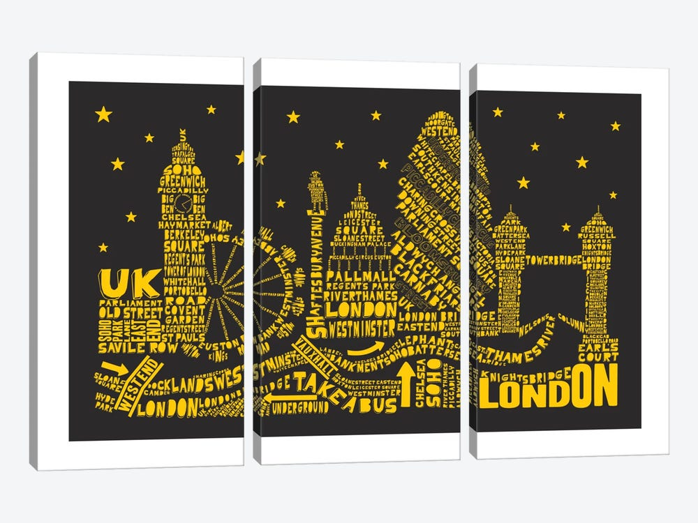 London By Night by Citography 3-piece Canvas Artwork
