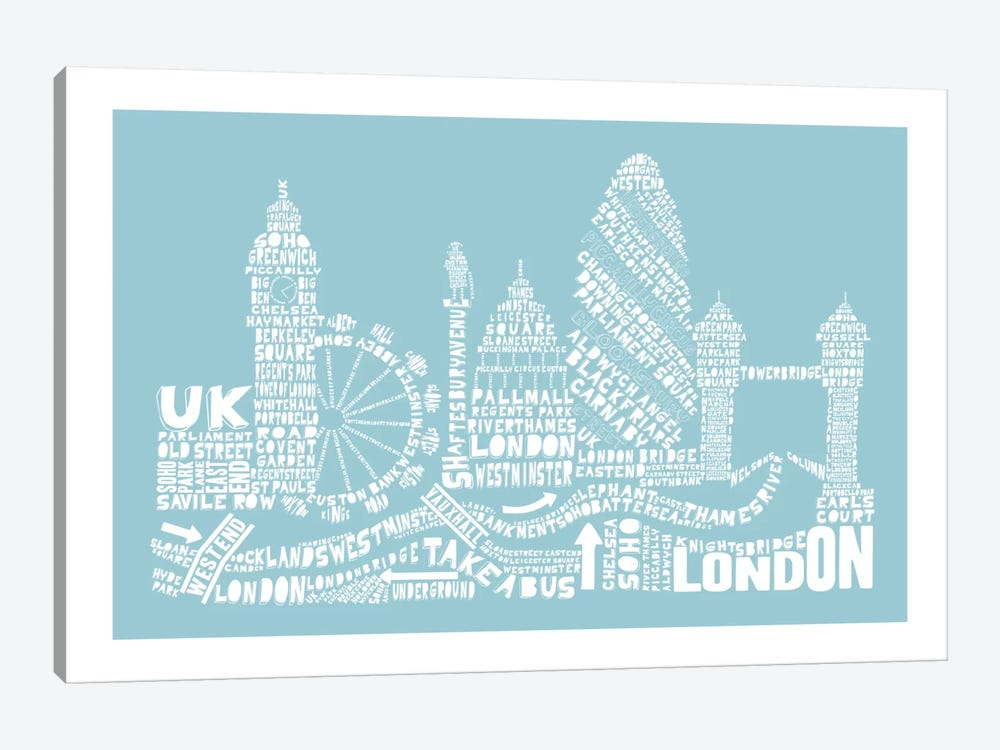 London, Aqua by Citography 1-piece Art Print
