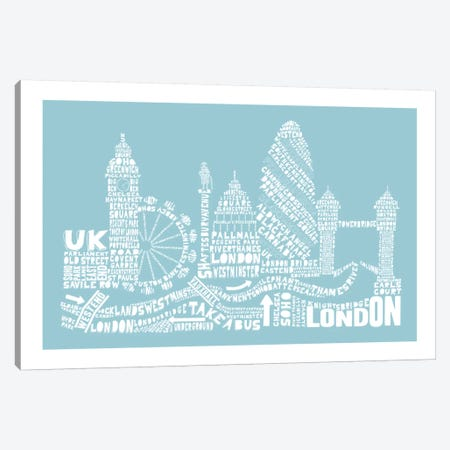 London, Aqua Canvas Print #AAA46} by Citography Canvas Wall Art