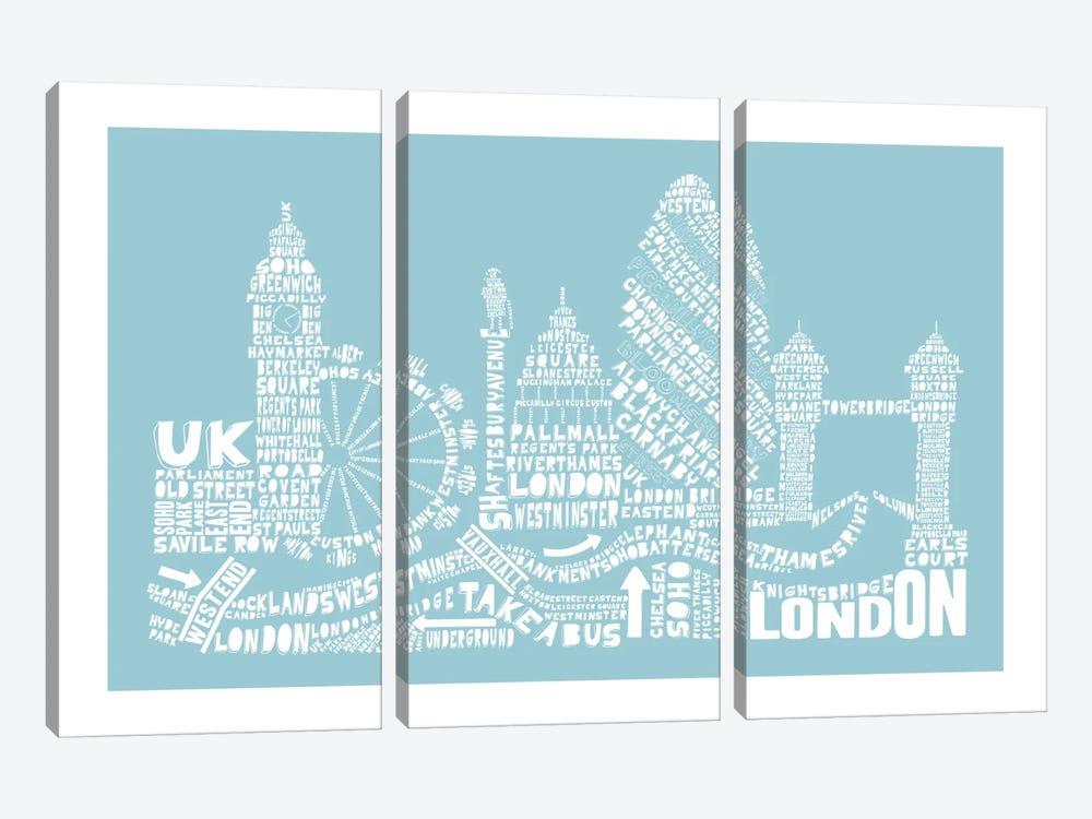 London, Aqua by Citography 3-piece Canvas Art Print