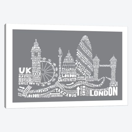 London, Gray Canvas Print #AAA47} by Citography Canvas Artwork