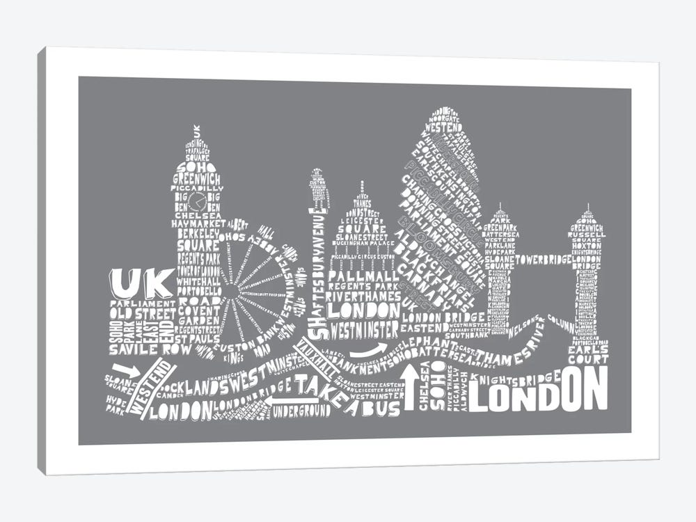 London, Gray by Citography 1-piece Canvas Art
