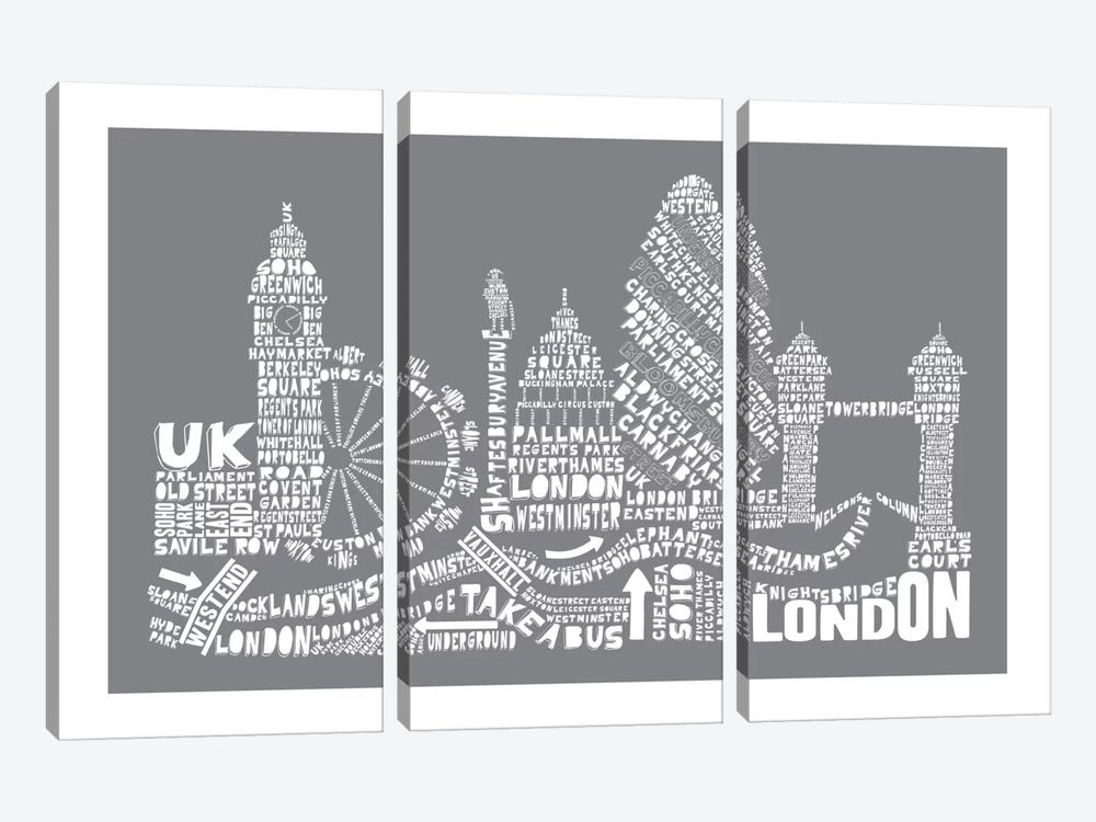 London, Gray by Citography 3-piece Canvas Wall Art