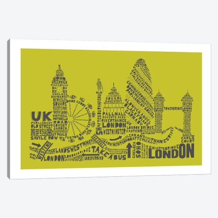 London, Lime & Gray Canvas Print #AAA48} by Citography Canvas Print