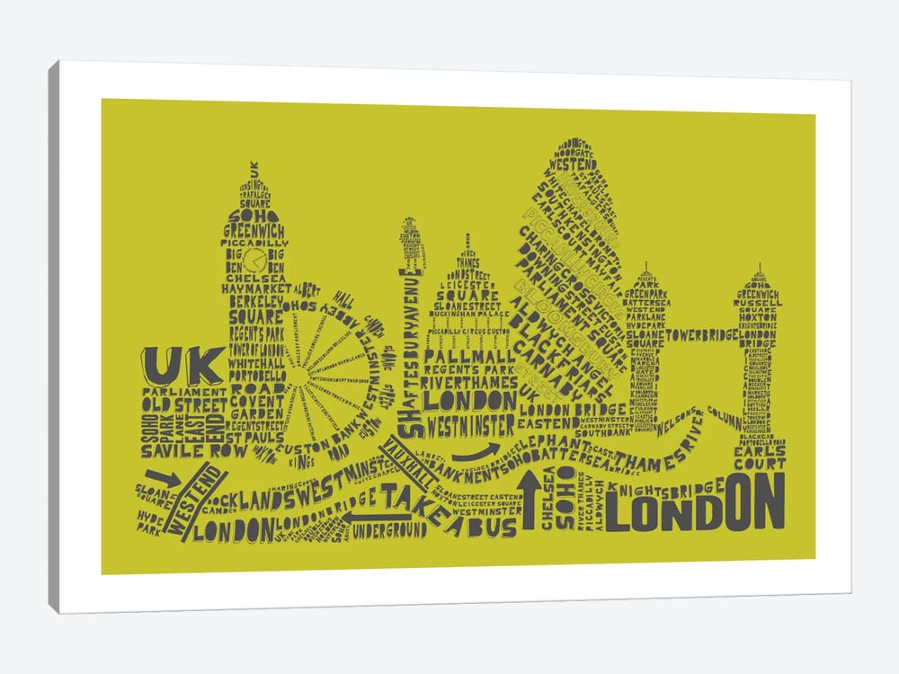 London, Lime & Gray by Citography 1-piece Art Print