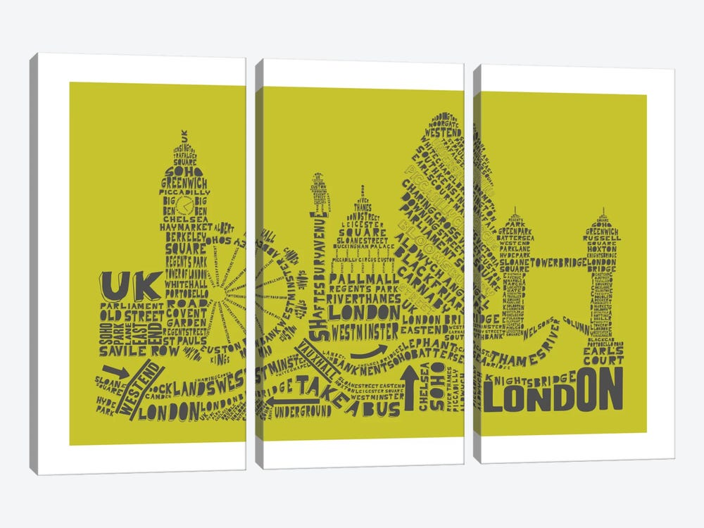 London, Lime & Gray by Citography 3-piece Art Print