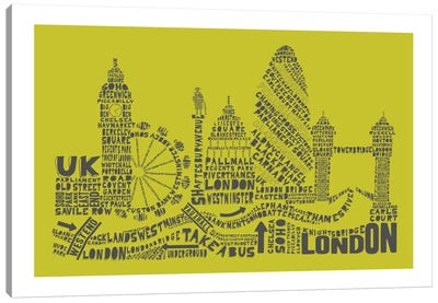 London, Lime & Gray Canvas Art Print