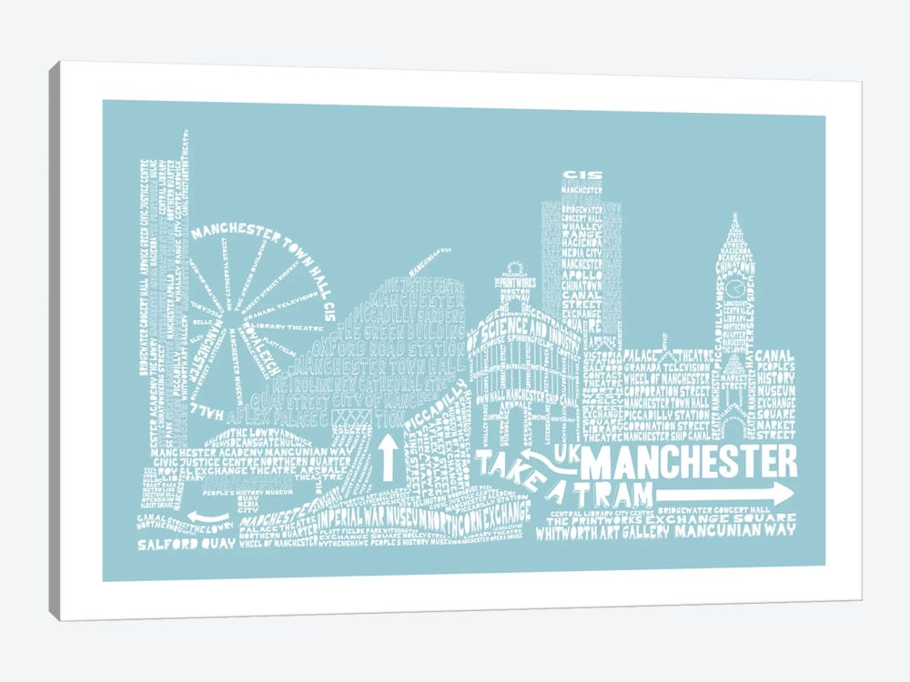 Manchester, Aqua by Citography 1-piece Canvas Wall Art