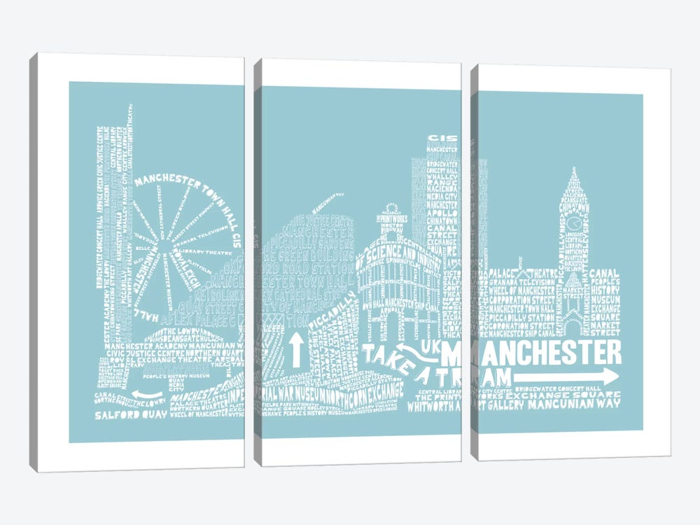 Manchester, Aqua by Citography 3-piece Canvas Wall Art