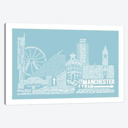 Manchester, Aqua Canvas Print #AAA50} by Citography Canvas Art