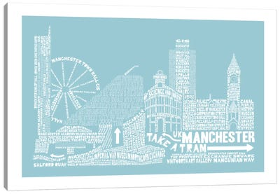 Manchester, Aqua Canvas Art Print