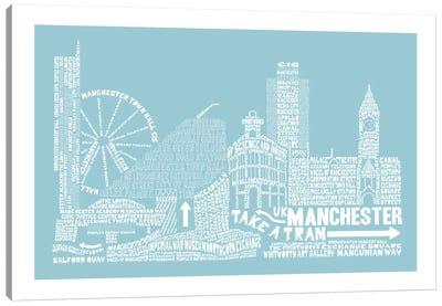 Manchester, Aqua Canvas Art Print