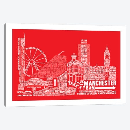 Manchester, Red Canvas Print #AAA51} by Citography Canvas Wall Art
