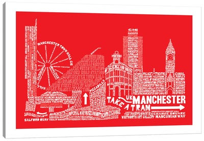 Manchester, Red Canvas Art Print