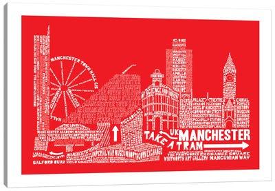 Manchester, Red Canvas Art Print