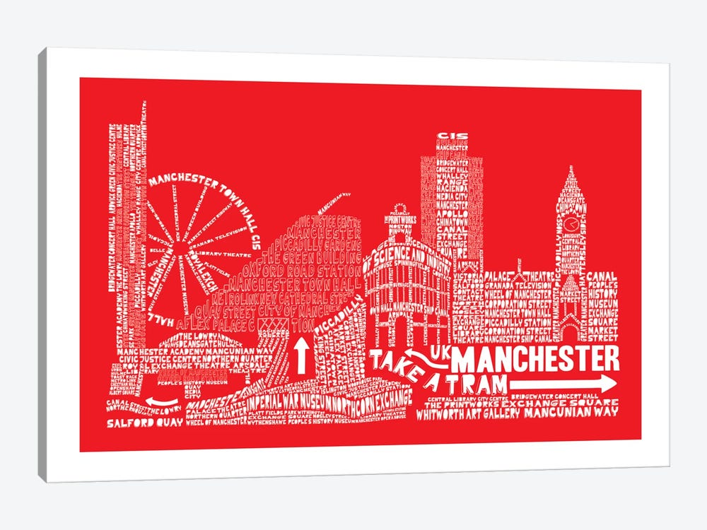 Manchester, Red by Citography 1-piece Canvas Art Print