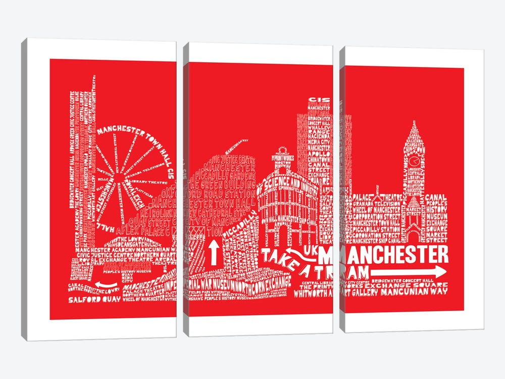 Manchester, Red by Citography 3-piece Art Print