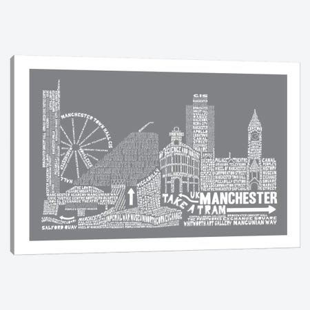 Manchester, Slate Canvas Print #AAA52} by Citography Canvas Artwork