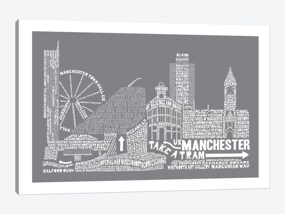 Manchester, Slate by Citography 1-piece Canvas Artwork