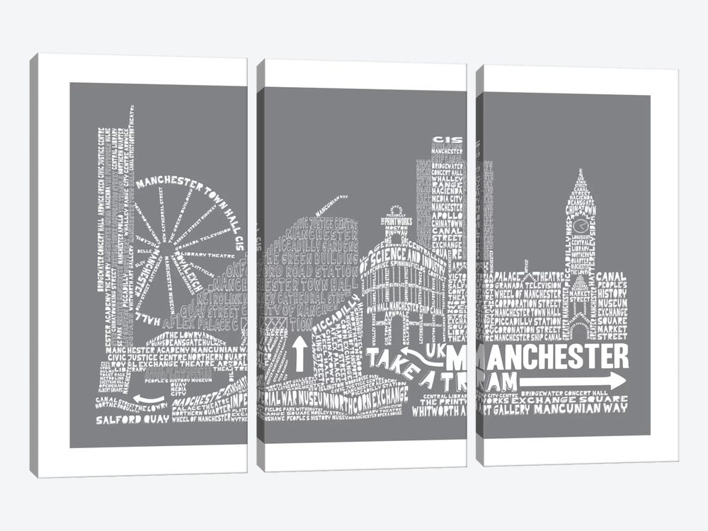Manchester, Slate by Citography 3-piece Canvas Artwork