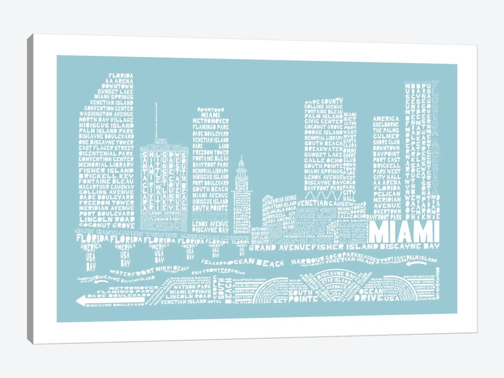 Miami, Aqua by Citography 1-piece Canvas Print