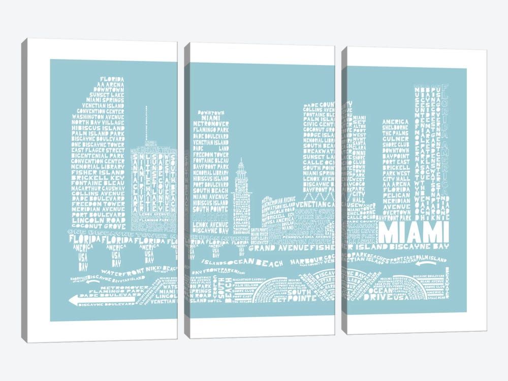 Miami, Aqua by Citography 3-piece Canvas Art Print