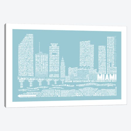 Miami, Aqua Canvas Print #AAA53} by Citography Canvas Art
