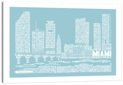 Miami, Aqua Canvas Art Print