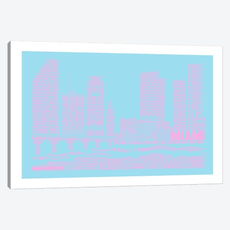 Miami, Faded Neon Canvas Print #AAA54} by Citography Canvas Print