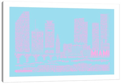 Miami, Faded Neon Canvas Art Print