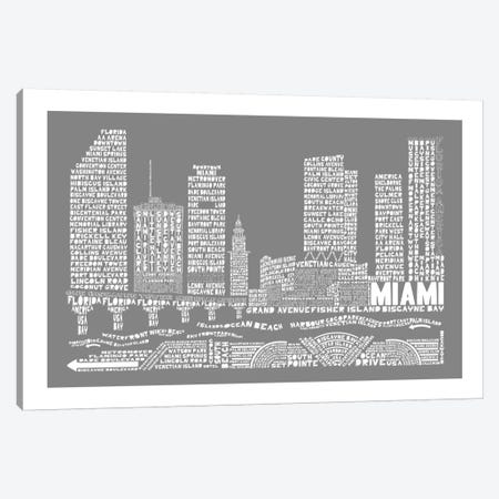 Miami, Slate Canvas Print #AAA55} by Citography Canvas Print
