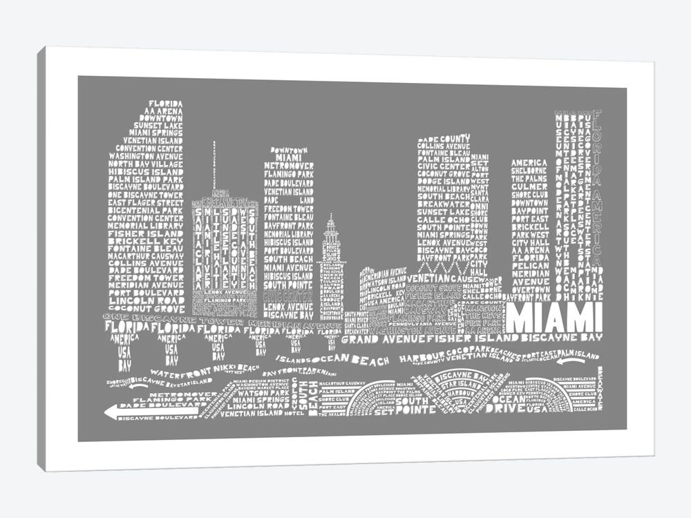 Miami, Slate by Citography 1-piece Canvas Print