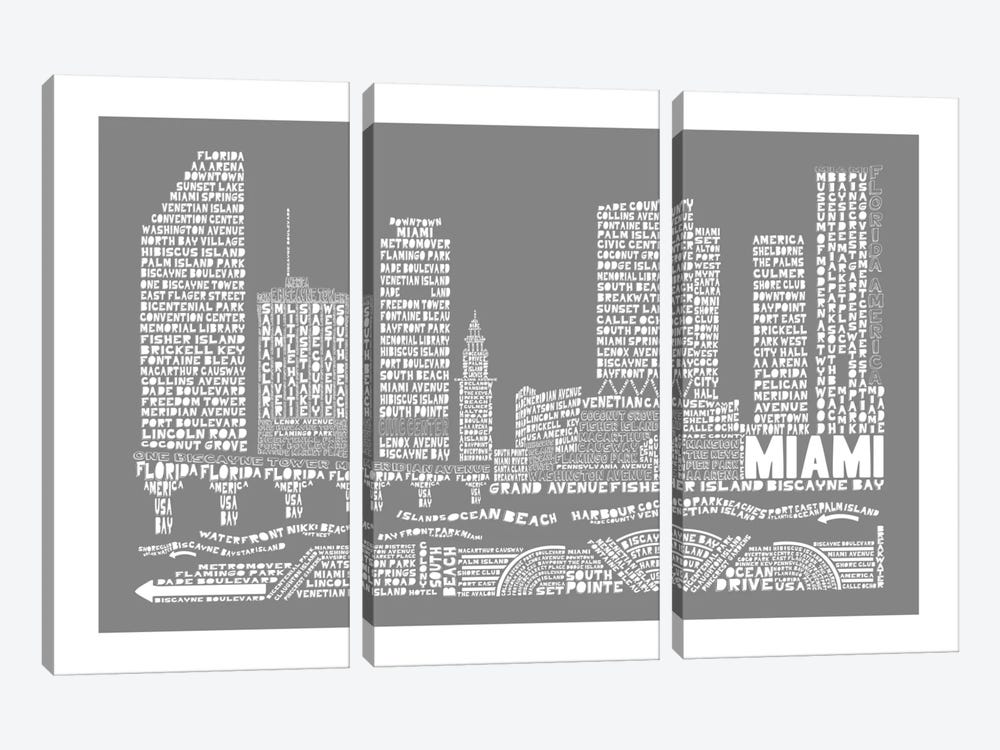 Miami, Slate by Citography 3-piece Art Print