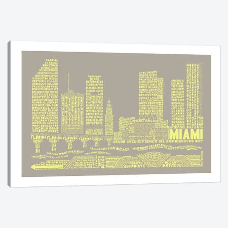 Miami, Stone & Faded Neon Canvas Print #AAA56} by Citography Canvas Art Print