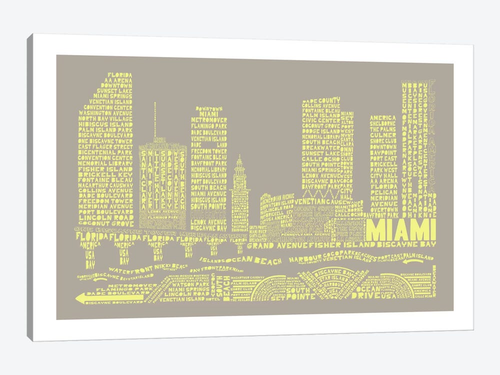 Miami, Stone & Faded Neon by Citography 1-piece Canvas Art