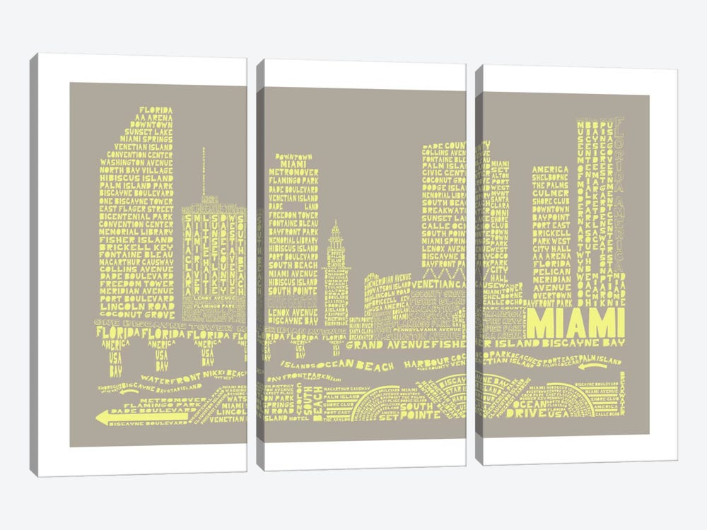 Miami, Stone & Faded Neon by Citography 3-piece Canvas Art