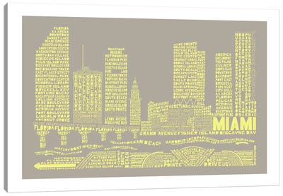 Miami, Stone & Faded Neon Canvas Art Print