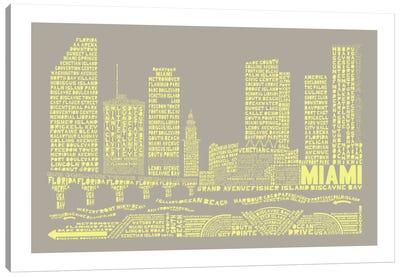 Miami, Stone & Faded Neon Canvas Art Print