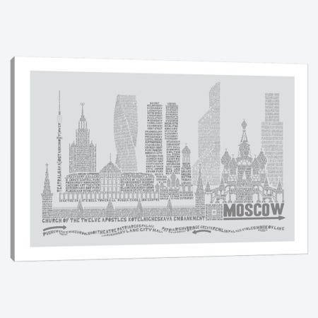 Moscow, Dove Gray Canvas Print #AAA57} by Citography Art Print