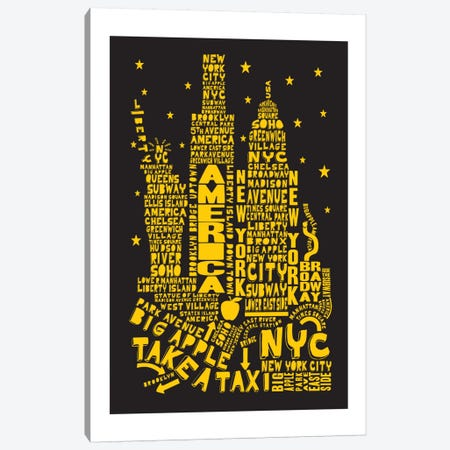 New York City By Night Canvas Print #AAA58} by Citography Canvas Wall Art