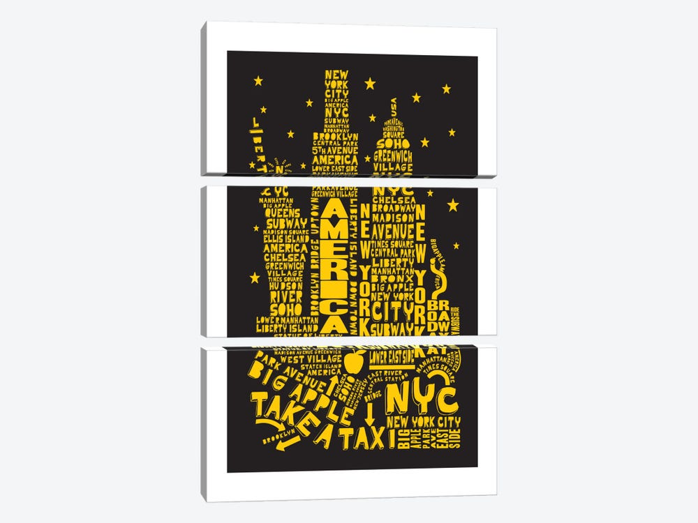 New York City By Night by Citography 3-piece Canvas Art