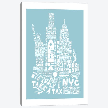 New York City, Aqua Canvas Print #AAA59} by Citography Canvas Artwork