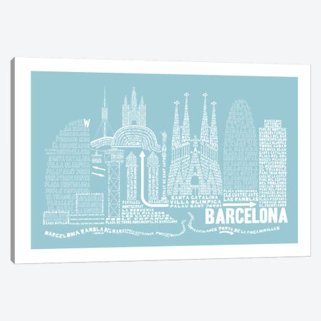Barcelona, Aqua Canvas Print #AAA5} by Citography Art Print