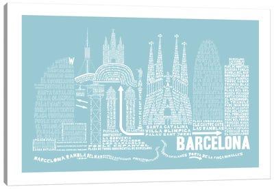 Barcelona, Aqua Canvas Art Print